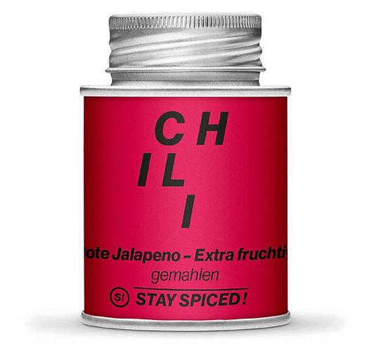 Jalapeno Chili, rot, gemahlen, getrocknet, Schraubdose