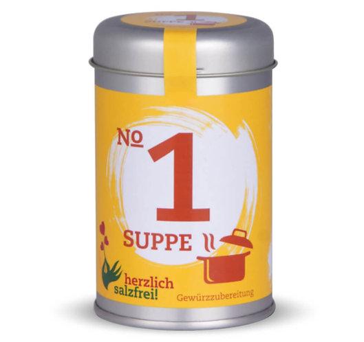 herzlich salzfrei, Nr.1 Suppe, Gewürze ohne Salz, Streudose - 80g, Vorderansicht