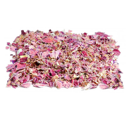 Rosenblüten, gemahlen, rosa, getrocknet