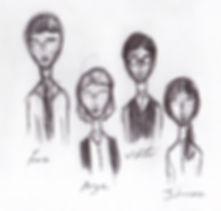 """Dibuix esquemàtic personatges """"Per què, Angie?"""""""