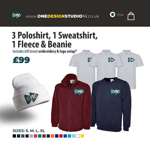 3 Poloshirt, 1 Sweatshirt, 1 Fleece & Beanie