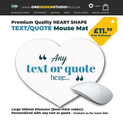 Heart Shape Text Mouse Mat