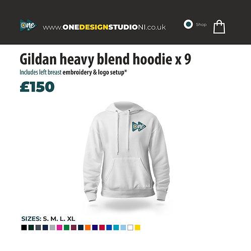 Gildan heavy blend hoodie x 9