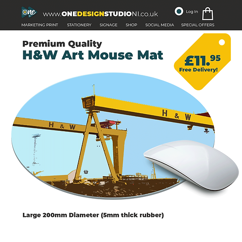 Harland and Wolff Art Circle Mouse Mat