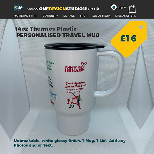 Personalised Thermos Plastic Travel Mug