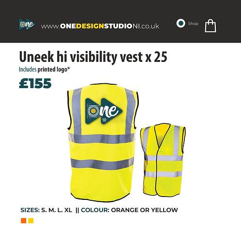 Uneek hi visibility vest x 25