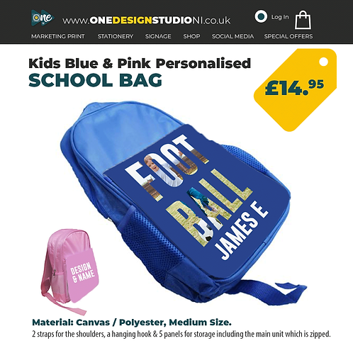 Personalised Kids School Bag