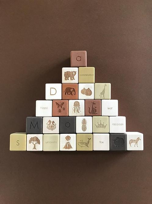 [사보] 알파벳 원목 블럭세트 / 올리브
