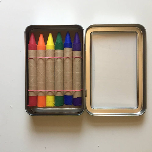 Set of 6 Soy and Bees Wax Crayons in Metal Tin