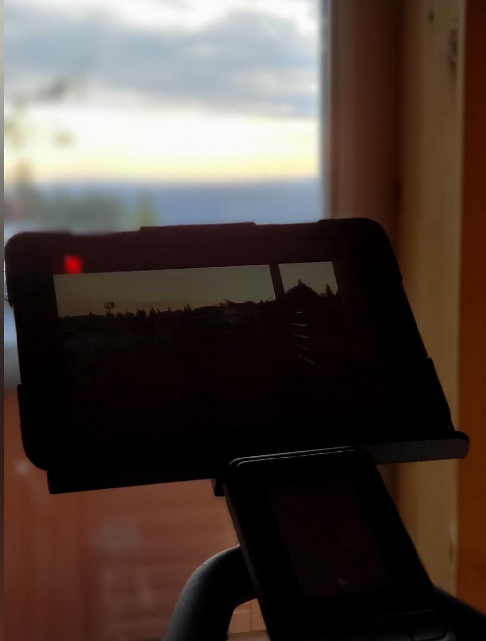 window view spin bike ipad movie