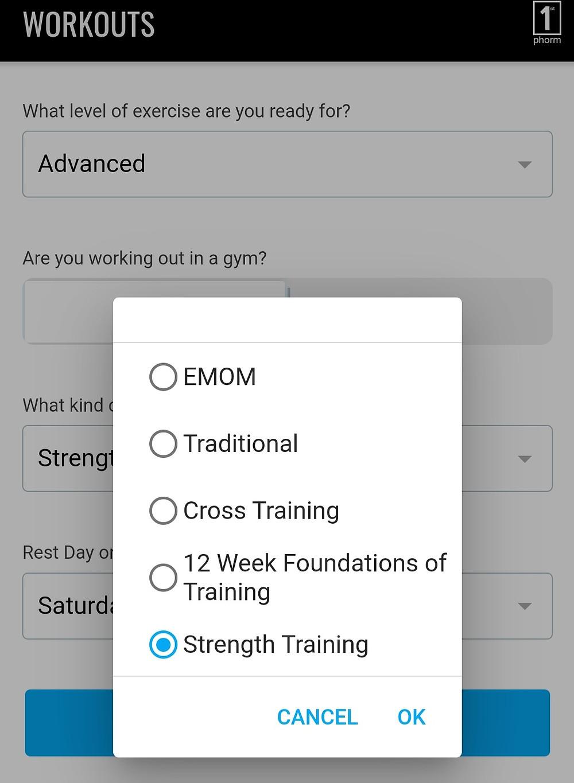 various workout options
