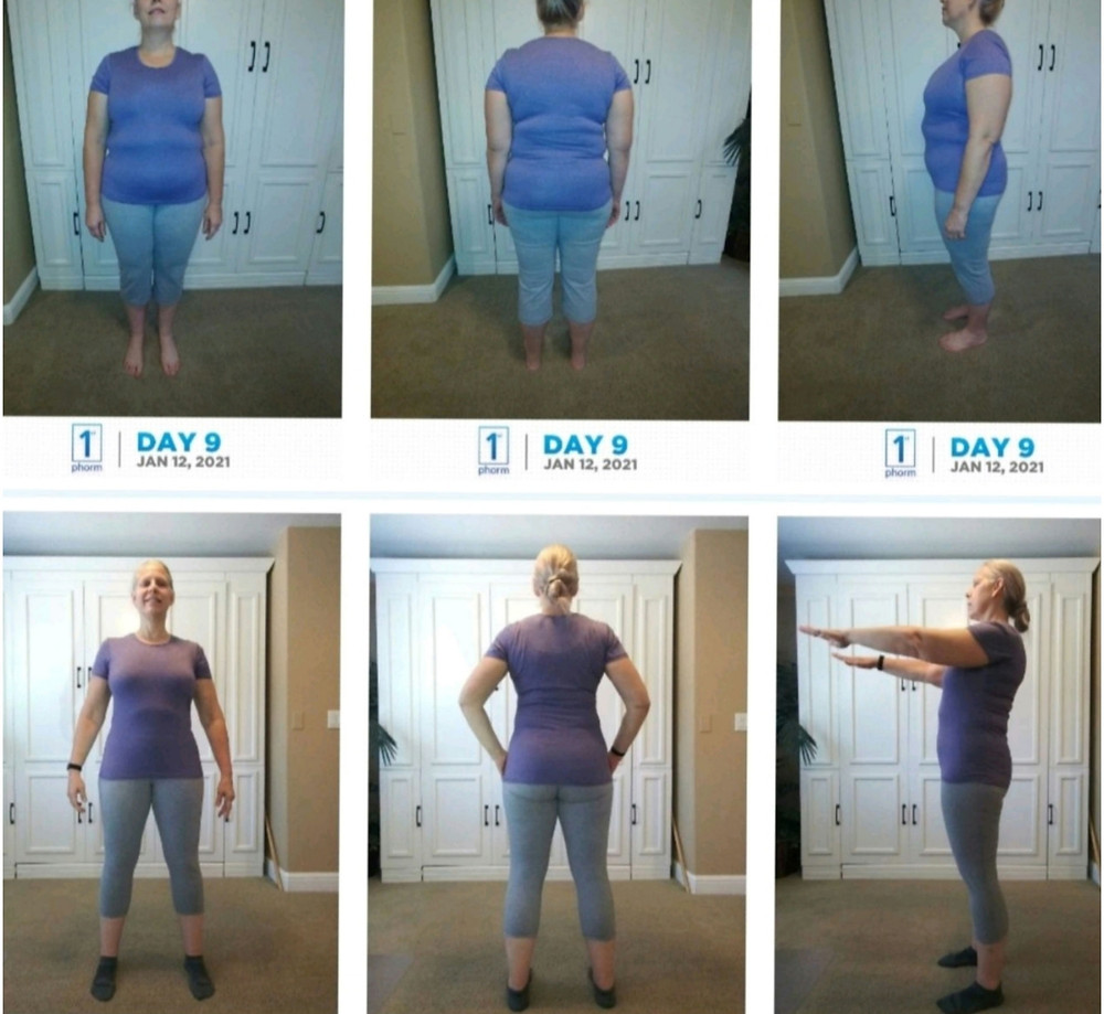 mid life female before and after weight loss transformation
