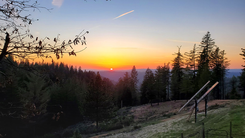 beautiful sunset in mountains