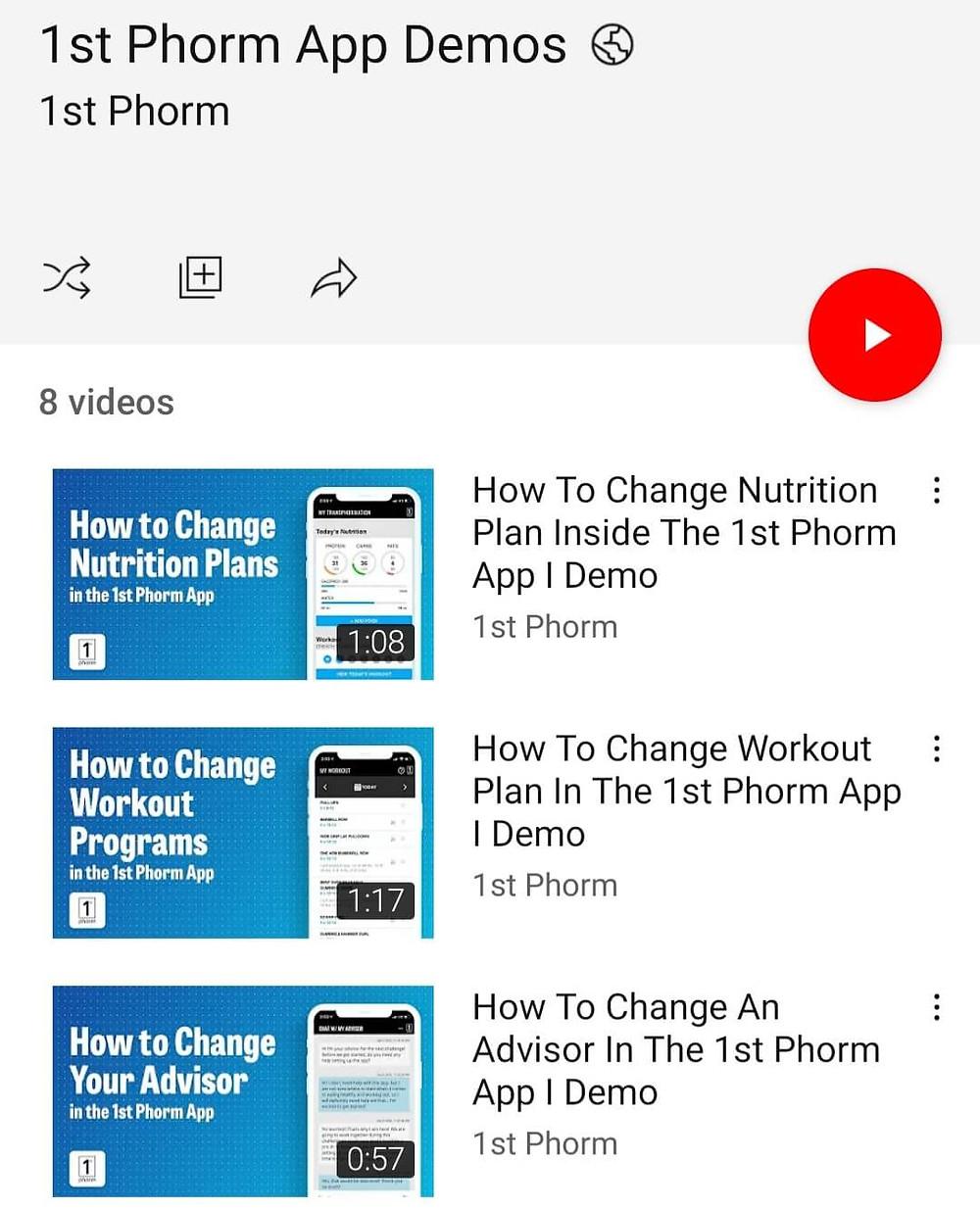 1st Phorm App Demo Tutorial YouTube Playlist