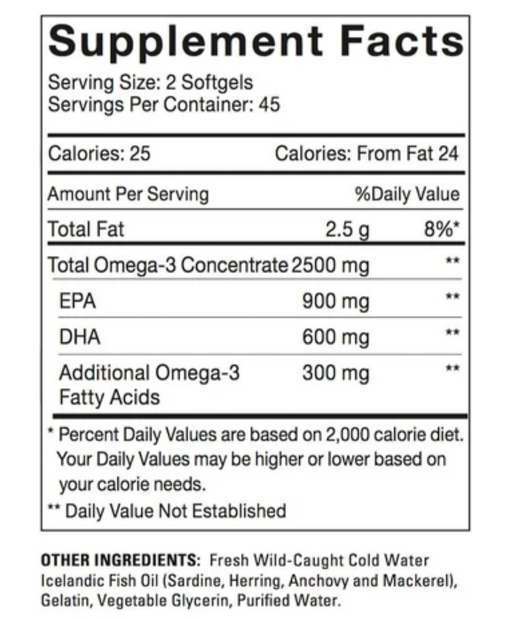 Fish Oil label nutrition facts