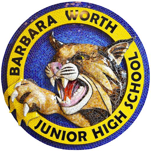 Mosaic bobcat logo at Barbara Worth Junior High School