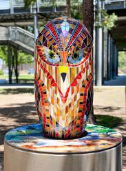 Hawk Sculpture & Reading Bench