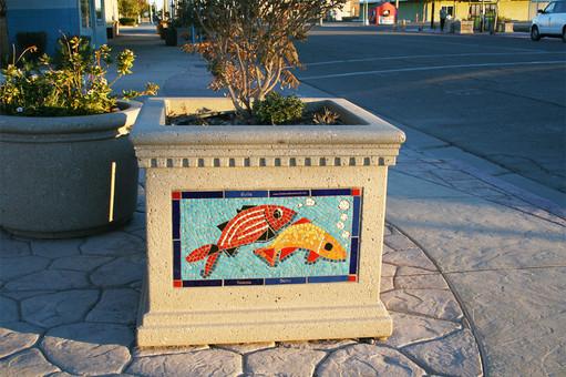 Mosaic planter in Imperial, California