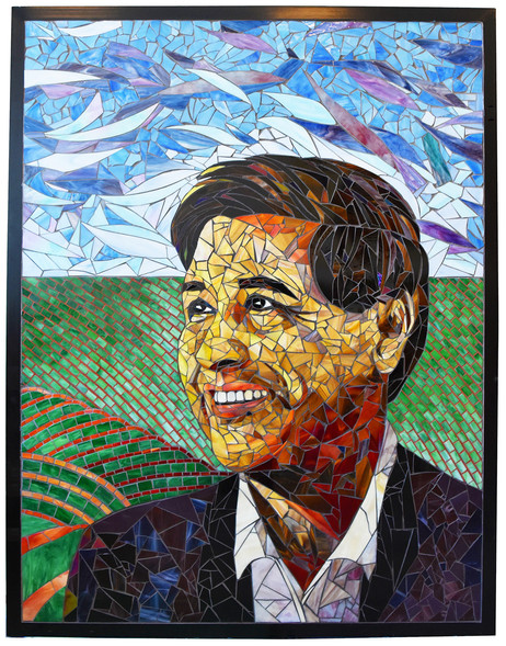 Colorful mosaic Cesar Chavez portrait at Cesar Chavez Elementary School