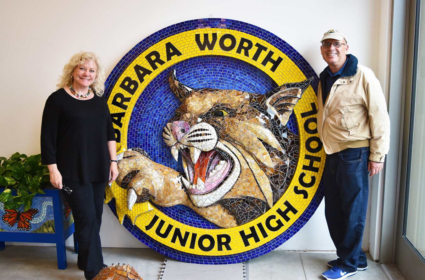 Mosaic bobcat logo at Barbara Worth Junior High School