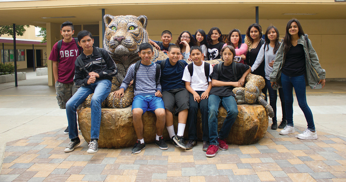 Majestic mosaic tiger bench at Wilson Middle School