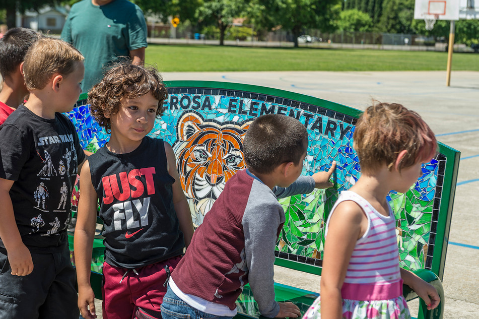 Ponderosa Elementary tiger bench unveiling