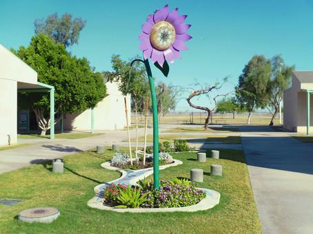 Colorful mosaic garden art at Sunflower Elementary School