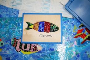 Mosaic reef fish mural in National City