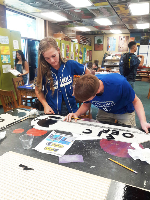 Students at work on school wayfinding signs