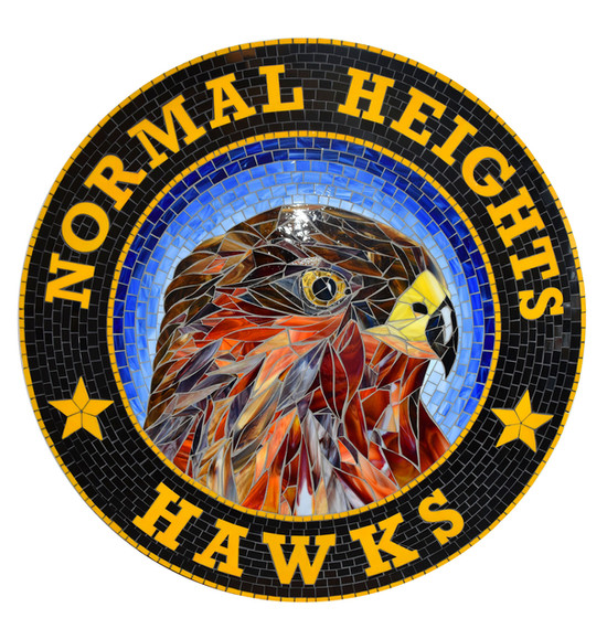 Mosaic hawk logo medallion at Normal Heights Elementary