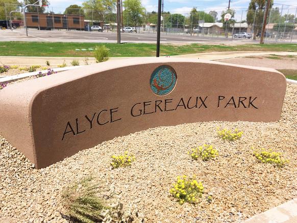 Entrance Sign at Alyce Gereaux Park
