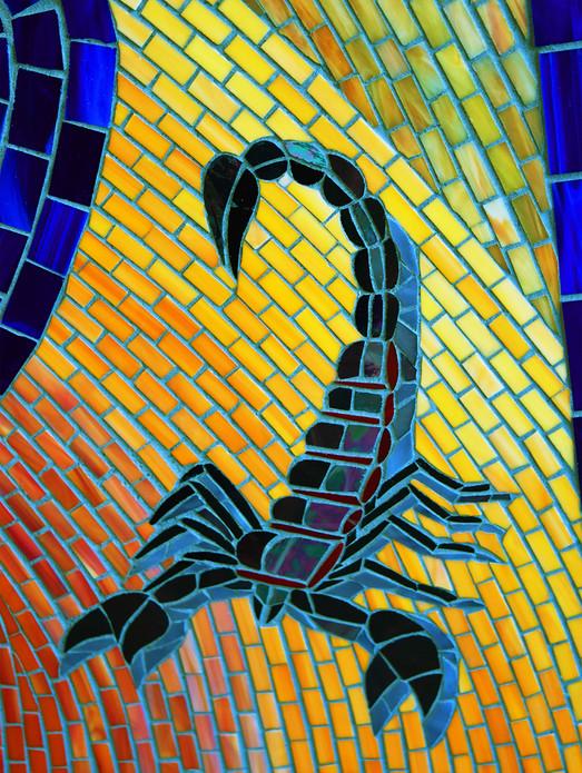 Colorful mosaic entrance at Sidewinder Skatepark