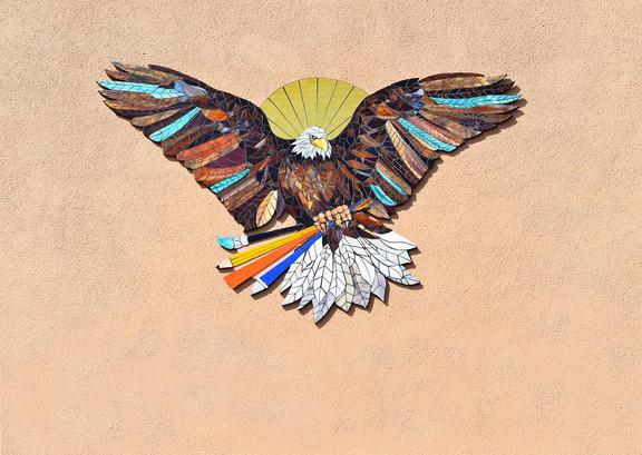Mosaic eagle logo at Perkins Elementary School