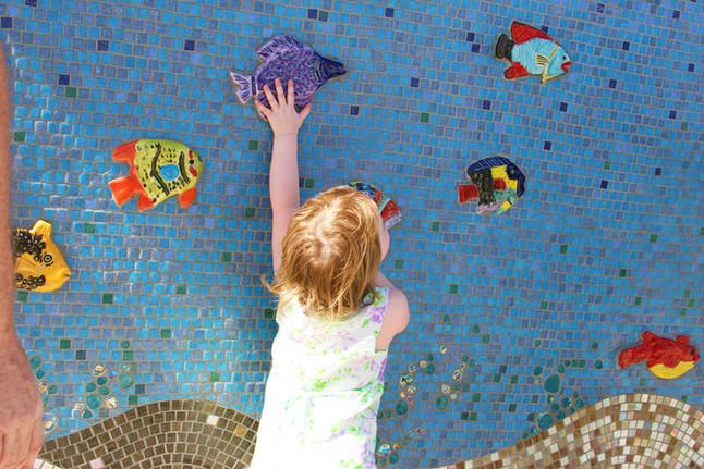 Colorful mosaic mural at the splash park in Imperial, California