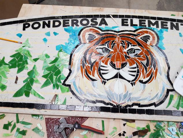 Ponderosa Elementary tiger bench process