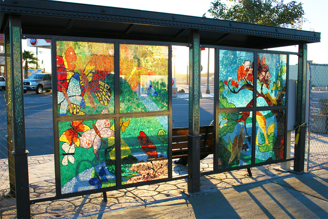 Stained glass mosaic bus stop in Imperial, California