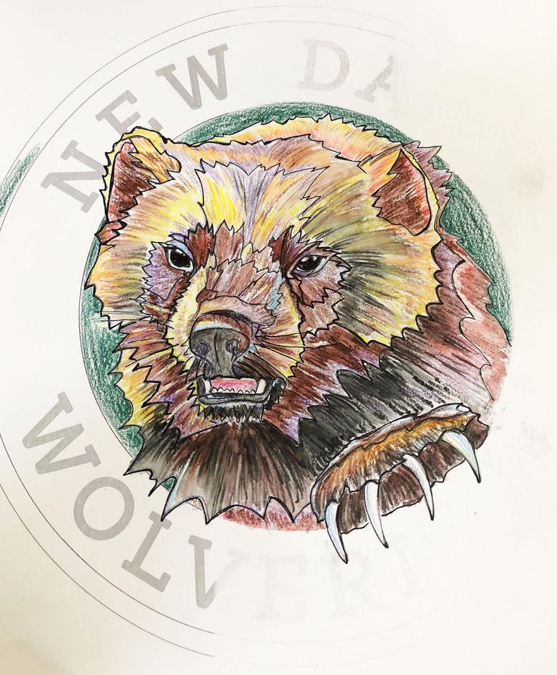 Mosaic wolverine logo at New Dawn High School