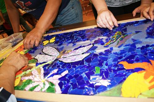 Colorful mosaic flower panels at San Diego YWCA