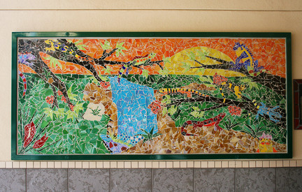 Colorful mosaic jungle lizards at Ibarra Elementary School