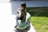Mosaic iguana bench at Ibarra Elementary School