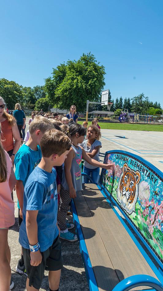 Durham Elementary tiger bench unveiling