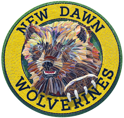Mosaic wolverine logo at New Dawn High School
