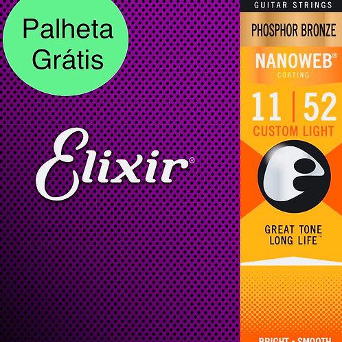 Cordas Elixir Violão Nanoweb Phosphor 16027 .011 - .052