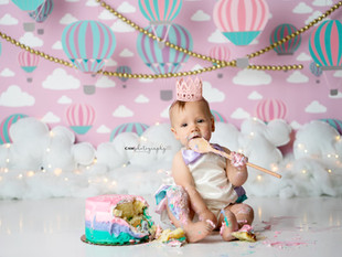 Hot Air Balloon First Birthday Cake Smash Photoshoot