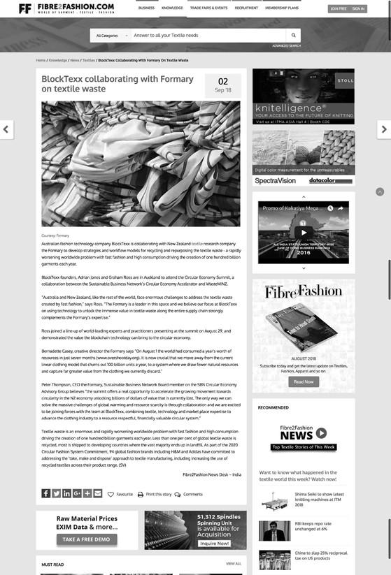 Fibre to fashion article