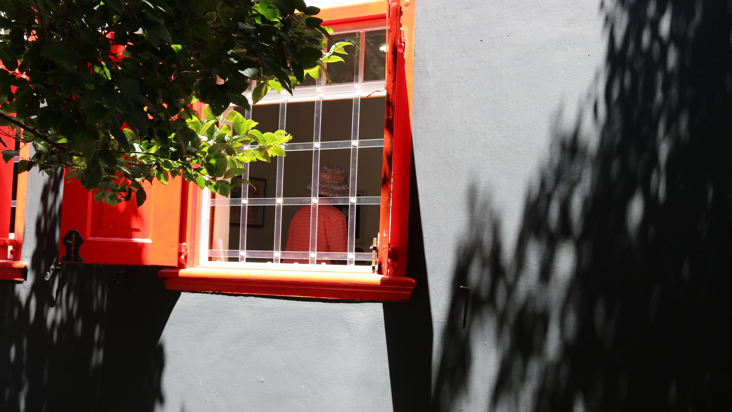 Can you see the woman in the perfect match to the window-colour?