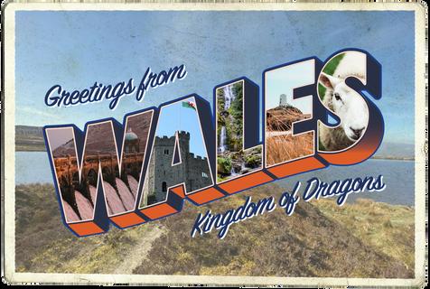 Greetings from Wales Vintage Postcard