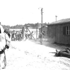 Filming the scene of the Sobibór Uprising