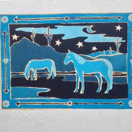 Blue Horse Backyard Mural