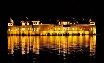 Jal-Mahal-Golden-hued-Jal-Mahal-at-night